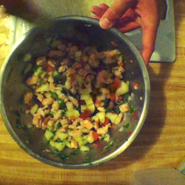 Made shrimp ceviche.