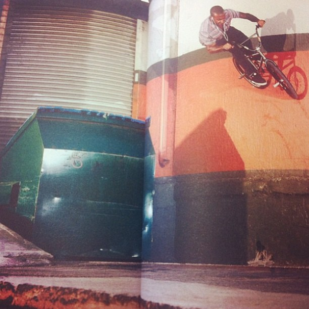 Psyched on this photo @danieljbenson shot that's in the new @thealbionbmxmag bank to dumpster ride to opposite wallride in Miami