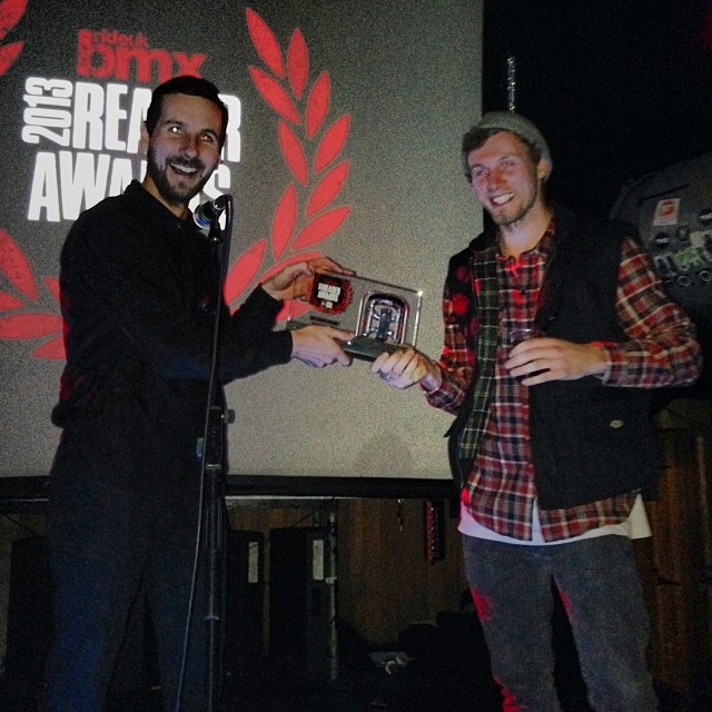 @lloydkink takes the lifetime achievement award at this years @rideukbmx #readerawards