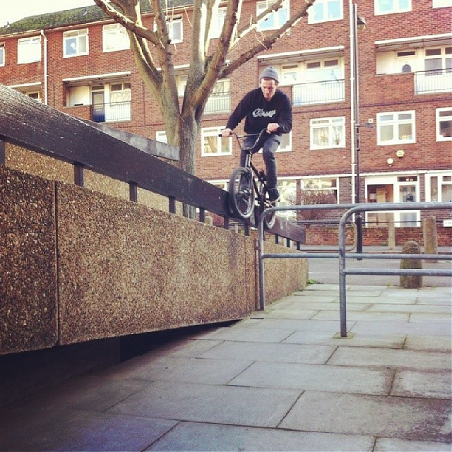 Found this awesome spot in town yesterday. Feel good to be back on the bike after xmas. @kinkbikes @odysseybmx @almond_footwear @radbmxshop