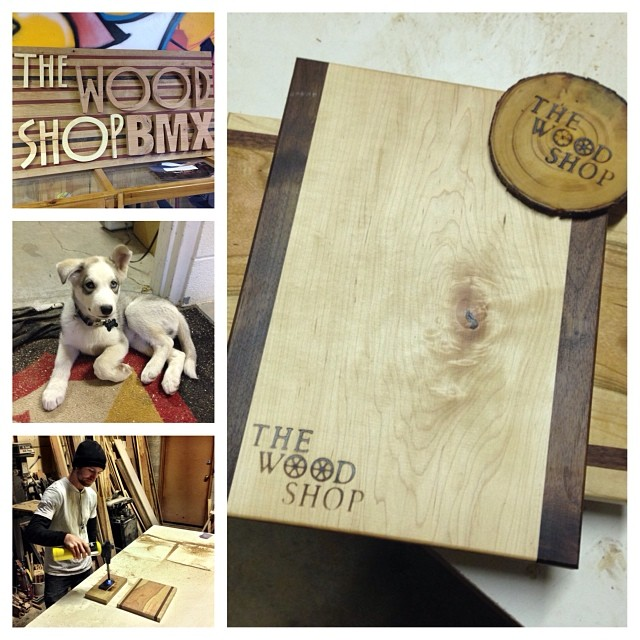 Hanging out @thewoodshopbmx today, thanks Cam for the hand made cutting board and coaster.