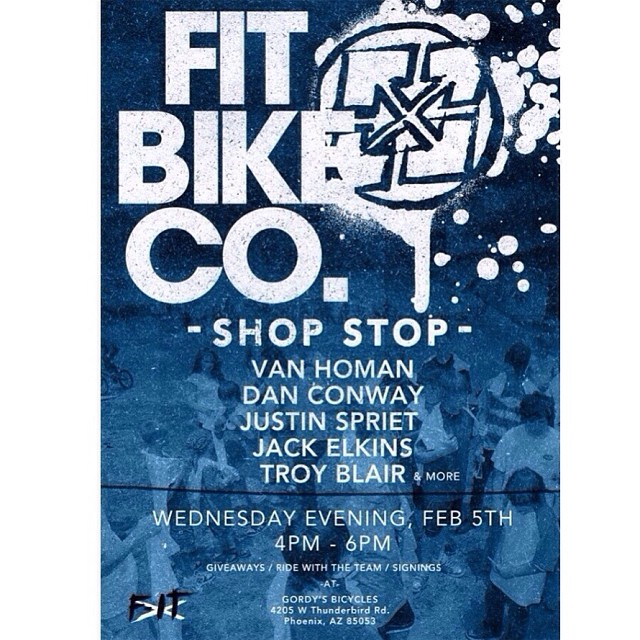 Come hang out at Gordy's Bicycles tomorrow! 4pm 4205 W Thunderbird Rd. Phoenix AZ @fitbikeco @danconway @jackelkins__ @justinspriet @troyblair