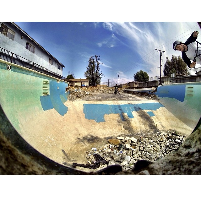Looks like this pool won't be around much longer, thanks to @jasonenns for yesterdays session and the artsy GoPro shot.
