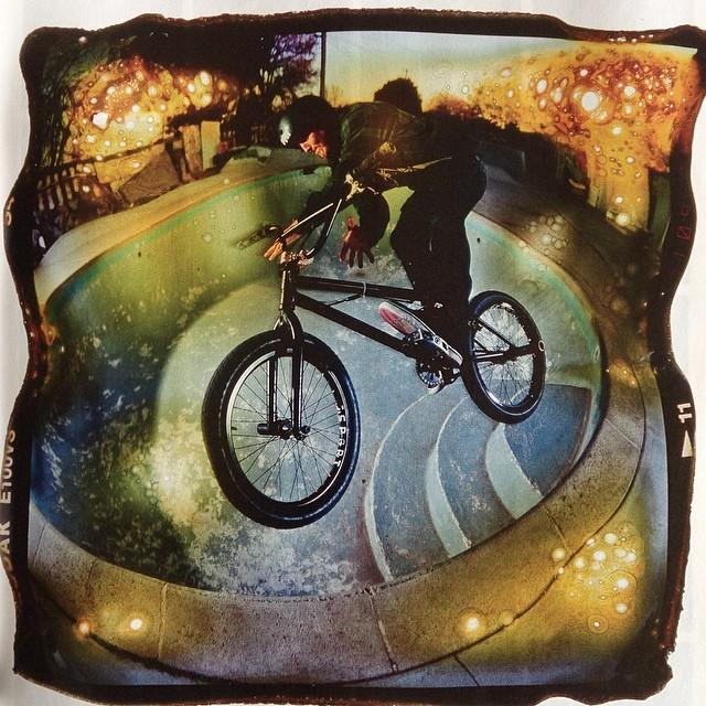 Amazing photos in the new @ridebmx issue of @vandeverhoman riding pools @mulligan4130 #rideus