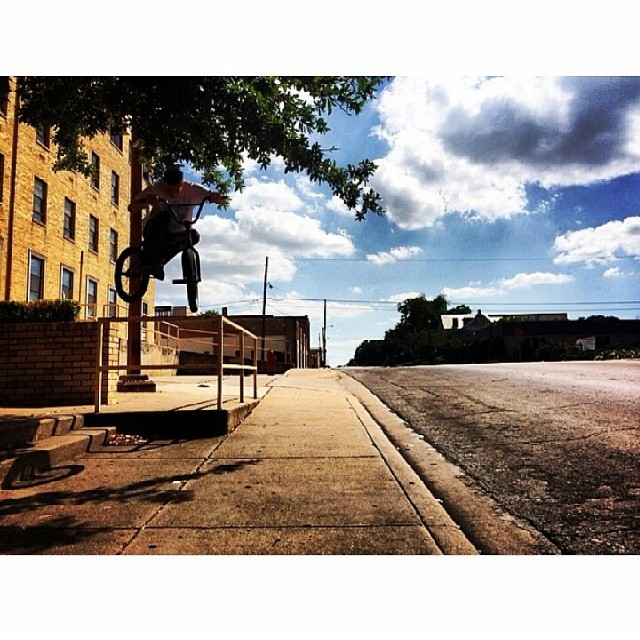 Rail hop in Waco. Tx yesterday filming for @kinkbikes with @darryltocco behind the lens.