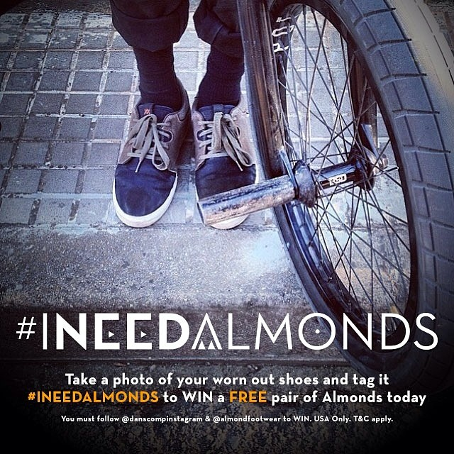 Take a photo of your battered old shoes so @danscompinstagram can replace them with a shiny new pair of almonds. Just make sure you use the #ineedalmonds tag and follow @danscompinstagram . USA only, limited to availability at Dan's Comp, you have until 11:59PM CST on June 4.