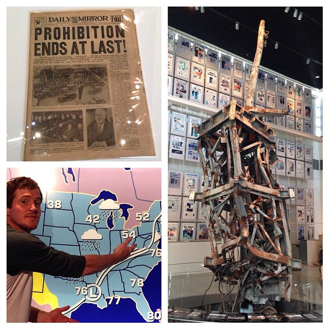 A little bit of everything from today's visit to the Newseum, good news (prohibition is over!), bad news (the antenna from atop the World Trade Center) and a weather report brought to you from the set of Ron Burgundy.