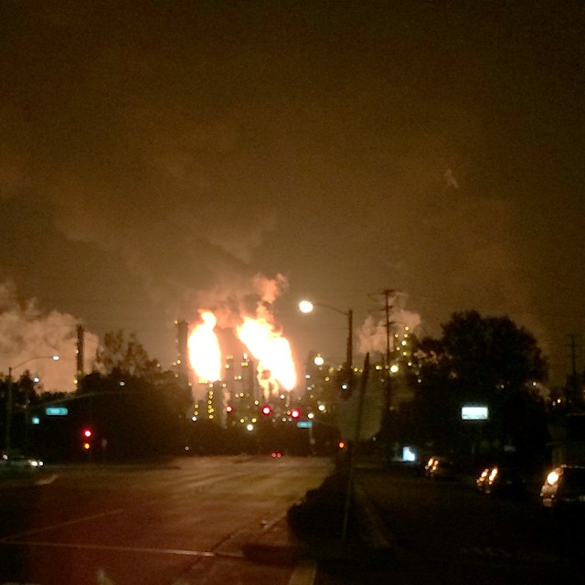 Saw this on my way home tonight. Exxon moble company shooting fire into the sky.