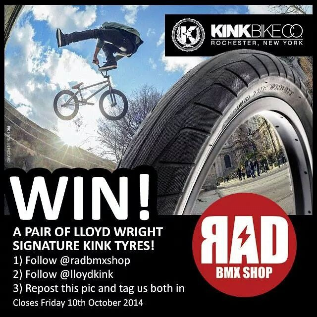 @radbmxshop are giving away a set of my signature @kinkbikes tyres. Enter for a chance to win. Info above. UK residents only. Thank you to @hadrienpicard for the photo. #wrighttyre #wrighttire