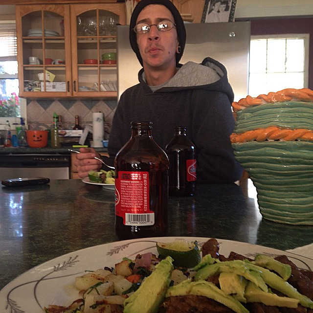 Steak and beers with manny fresh.