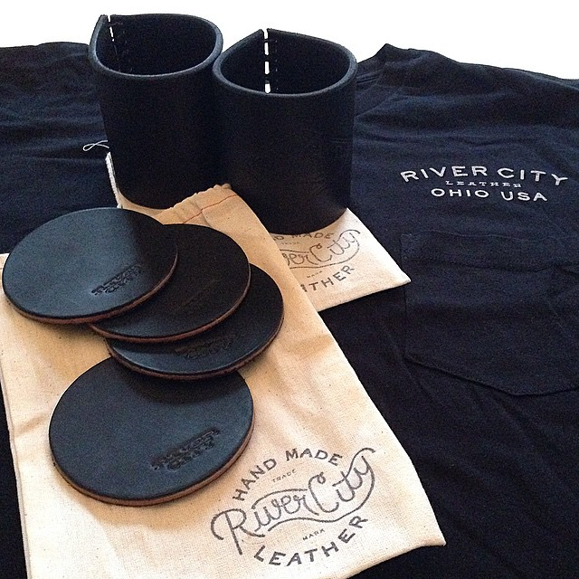 Koozies, Coasters and a New Pocket Tee curtesy of @rivercityleather. Thanks! #handmade