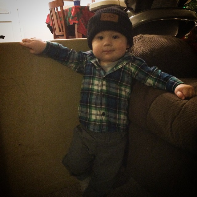 Lil guy rocking his new CULT leather patch beanie. #cultcrew