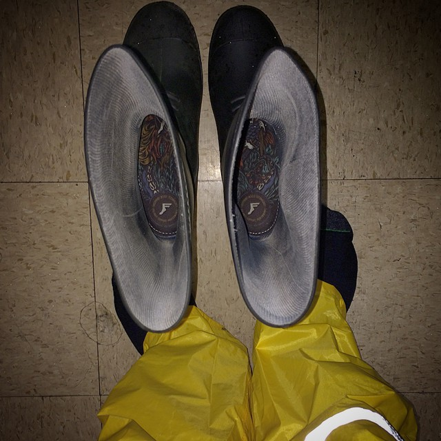 I looked like the Gortens Fisherman today, but I was dry and my feet we're comfy. #hookedupmyboots #fpinsoles