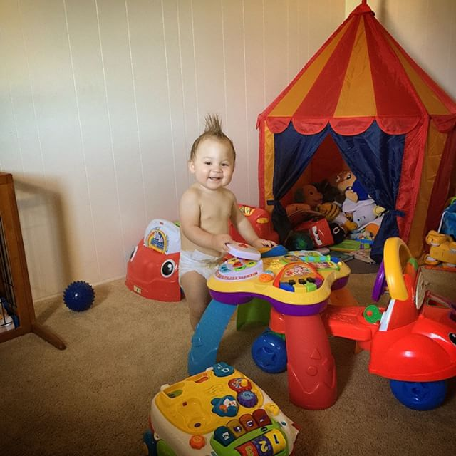 Mohawk man has way too many toys!