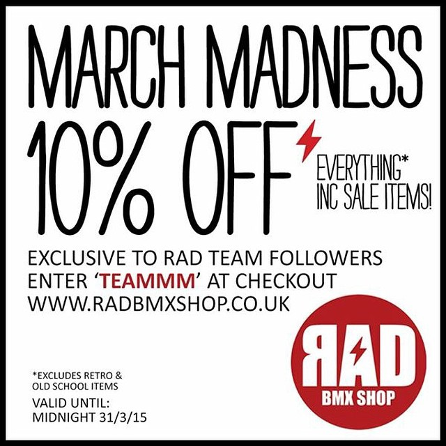 Last few days of the sale @radbmxshop support rider run bmx specific shops in the U.K.! Specially ones run by good dudes! Get down to @radbmxshop and spend all your pocket money or go buy a scooter and scoot it off a cliff.